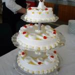 白いドレスを着たお人形が乗った特別ケーキ。