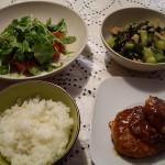 豚肉ハンバーグ、キュウリとわかめの酢の物、トマトとルッコラのサラダ。