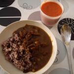 十六穀米、ハヤシライス、ガスパチョ。