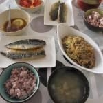 鯖の塩焼き、麻婆春雨、トマトサラダ、味噌汁。