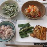 豆腐ステーキにネギを添えたもの、糸こんにゃくのサラダ、いんげんのマヨゴマ和え、五穀米。