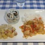 タラのスペイン風煮物、ポテトグラタン、酢の物。