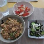 マーボー丼、トマトのサラダ、キュウリの酢の物。