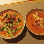 番外編:夕食。サルモレホに生ハム・キュウリ・ゆで卵をプラス。
