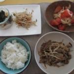 豚肉・もやし・キノコの炒め物、トマトと玉ねぎのサラダ、もやしと桜海老の和え物、長芋。