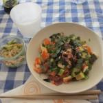 手巻き寿司の残りで豪華ちらし寿司と春雨サラダ。