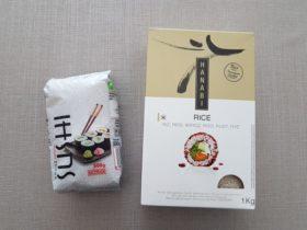「HANABI」とメルカドーナの寿司用のお米。